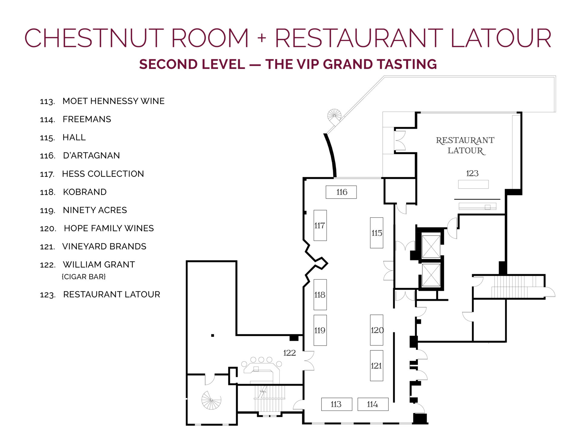 NJWFF Floorplan 2019 Chestnut Room